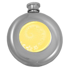 Yellow Abstract Flowers Hip Flask (Round)