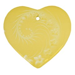 Yellow Abstract Flowers Heart Ornament (Two Sides)