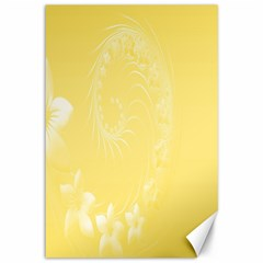Yellow Abstract Flowers Canvas 12  x 18  (Unframed)