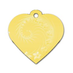 Yellow Abstract Flowers Dog Tag Heart (Two Sided)