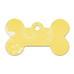 Yellow Abstract Flowers Dog Tag Bone (One Sided)