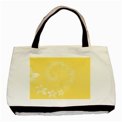 Yellow Abstract Flowers Twin-sided Black Tote Bag