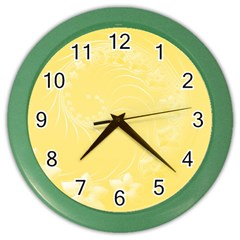 Yellow Abstract Flowers Wall Clock (color)