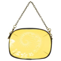 Yellow Abstract Flowers Chain Purse (one Side)