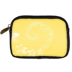 Yellow Abstract Flowers Digital Camera Leather Case