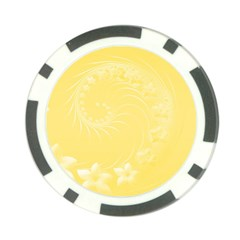 Yellow Abstract Flowers Poker Chip 10 Pack