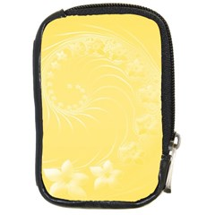 Yellow Abstract Flowers Compact Camera Leather Case