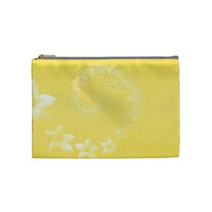 Yellow Abstract Flowers Cosmetic Bag (Medium)