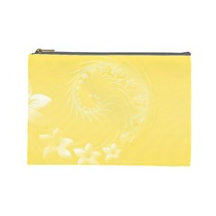 Yellow Abstract Flowers Cosmetic Bag (large)