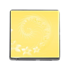 Yellow Abstract Flowers Memory Card Reader With Storage (square)