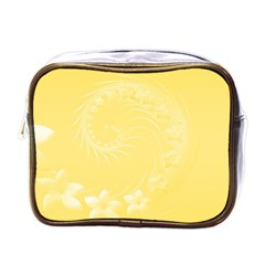 Yellow Abstract Flowers Mini Travel Toiletry Bag (one Side)