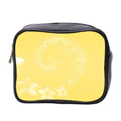 Yellow Abstract Flowers Mini Travel Toiletry Bag (two Sides)