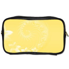Yellow Abstract Flowers Travel Toiletry Bag (One Side)