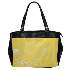 Yellow Abstract Flowers Oversize Office Handbag (one Side)