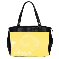 Yellow Abstract Flowers Oversize Office Handbag (two Sides)
