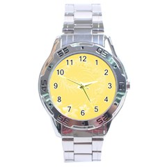 Yellow Abstract Flowers Stainless Steel Watch (Men s)
