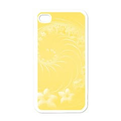 Yellow Abstract Flowers Apple iPhone 4 Case (White)