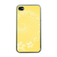 Yellow Abstract Flowers Apple Iphone 4 Case (clear)
