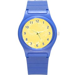 Yellow Abstract Flowers Plastic Sport Watch (small)