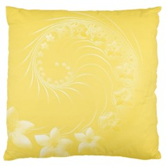 Yellow Abstract Flowers Large Cushion Case (One Side)