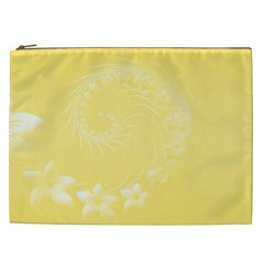 Yellow Abstract Flowers Cosmetic Bag (xxl)