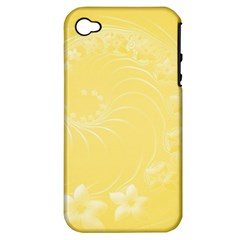 Yellow Abstract Flowers Apple Iphone 4/4s Hardshell Case (pc+silicone)