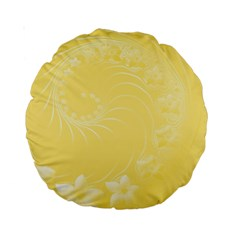 Yellow Abstract Flowers 15  Premium Round Cushion