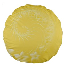 Yellow Abstract Flowers 18  Premium Round Cushion