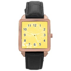Yellow Abstract Flowers Rose Gold Leather Watch