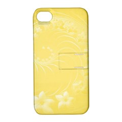 Yellow Abstract Flowers Apple Iphone 4/4s Hardshell Case With Stand