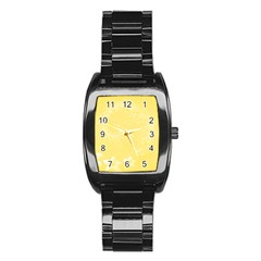 Yellow Abstract Flowers Men s Stainless Steel Barrel Analog Watch