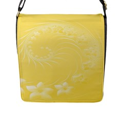 Yellow Abstract Flowers Flap Closure Messenger Bag (large)