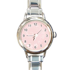 Light Pink Abstract Flowers Round Italian Charm Watch