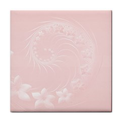 Light Pink Abstract Flowers Ceramic Tile