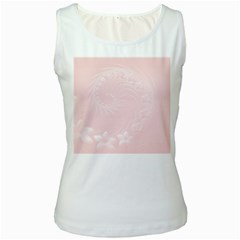 Light Pink Abstract Flowers Womens  Tank Top (White)