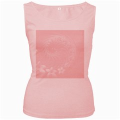 Light Pink Abstract Flowers Womens  Tank Top (Pink)