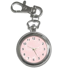 Light Pink Abstract Flowers Key Chain & Watch