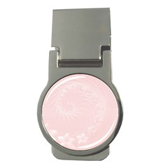 Light Pink Abstract Flowers Money Clip (round)