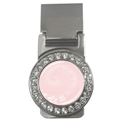 Light Pink Abstract Flowers Money Clip (CZ)