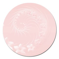Light Pink Abstract Flowers Magnet 5  (round)