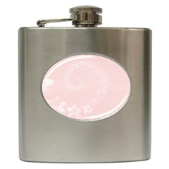 Light Pink Abstract Flowers Hip Flask
