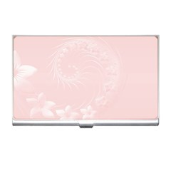 Light Pink Abstract Flowers Business Card Holder