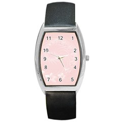 Light Pink Abstract Flowers Tonneau Leather Watch