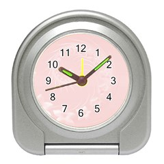 Light Pink Abstract Flowers Desk Alarm Clock