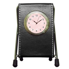 Light Pink Abstract Flowers Stationery Holder Clock