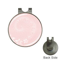 Light Pink Abstract Flowers Hat Clip With Golf Ball Marker