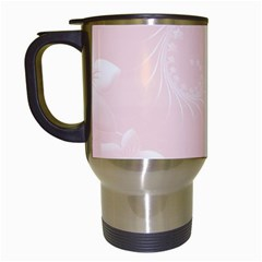 Light Pink Abstract Flowers Travel Mug (White)