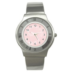 Light Pink Abstract Flowers Stainless Steel Watch (Unisex)