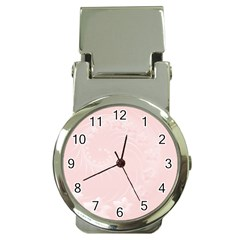 Light Pink Abstract Flowers Money Clip with Watch