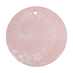 Light Pink Abstract Flowers Round Ornament (Two Sides)